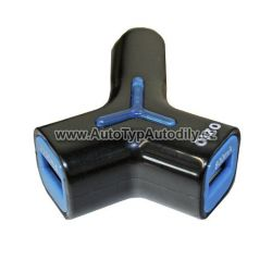 Zvětšit fotografii - Nabíječka duální USB do auta BÍLÁ