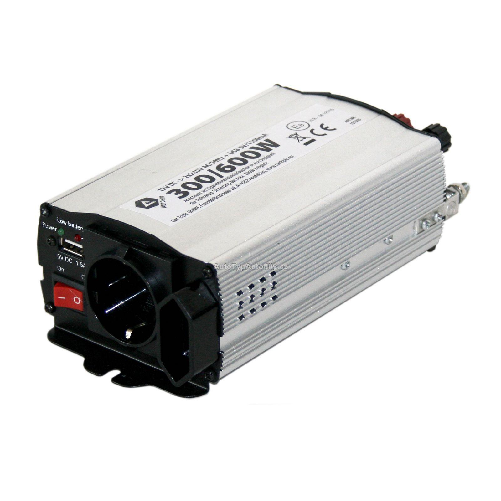 www.autotypautodily.cz Měnč napětí 12/220V 300W/600W + 1 x USB 1500mA CARTOPIC