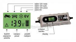 Nabíječka mikroprocesor 3,8Amp 6/12V PB/GEL LCD display 07146 COMPASS