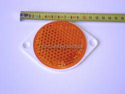 Odrazka kulatá oranžová-s ušima průměr 85mm. 5W24