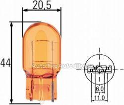 Žárovka 12V 21W  oranžová celosklo W3x16d
