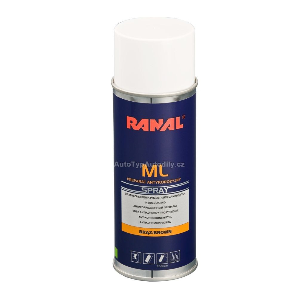 Prostředek vosk k ochraně dutin karoserie hnědý sprej 500ml Ranal