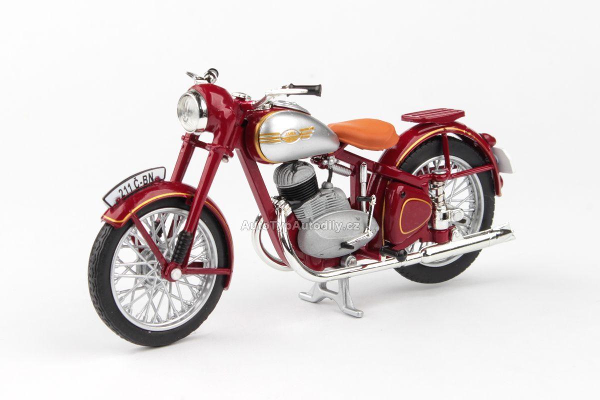 Jawa 250 Pérák Standard (1948) 1:18 - Tmavě Červená ABREX