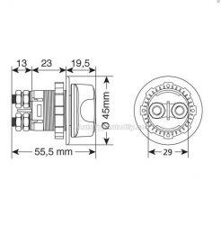 Odpojovač autobaterie 3 funkce 12/32V 100A NEW 6/2020 Lampa - IT
