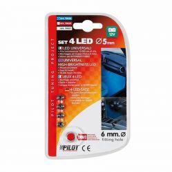 Sada 4 LED 12V, průměř 5mm, modré Lampa - IT