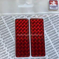 Samolepka 3D odrazka 7x2,5cm červená S0016 pár