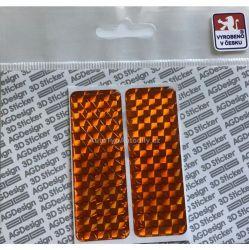 Samolepka 3D odrazka 7x2,5cm ORANŽOVÁ S0016O pár