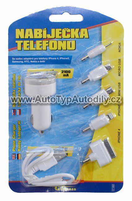 www.autotypautodily.cz Nabíječka telefonu 2,1A (Iphone4/5, micro USB, mini USB, Nokia) COMPASS