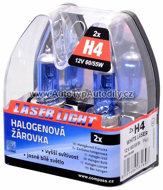www.autotypautodily.cz Žárovka H4 12V 60/55W WHITE LASER 2ks COMPASS
