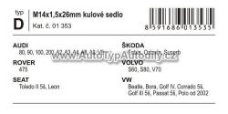 www.autotypautodily.cz Pojistné šrouby kol D UNI ŠKODA FABIA/OCTAVIA/SUPERB sada M14x1,50x26mm kulové sedlo COMPASS