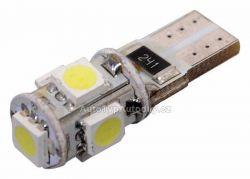 Žárovka 5 SMD LED 12V T10 s rezistorem CAN-BUS ready bílá 33794