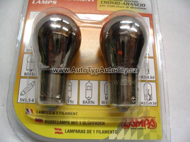 Žárovka 12V 21W oranžová-chrom efekt-pár : 58067 Lampa